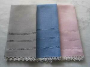 Vintage Set 3 Fingertip Towels Tatted Lace Trim Blue Pink Gray Drawn Thread