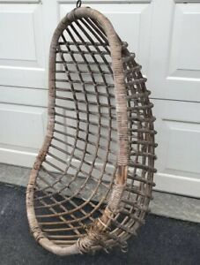 Vintage Rattan Wicker Mid Century Full Egg Swing Hanging Chair Papasan Bee Hive