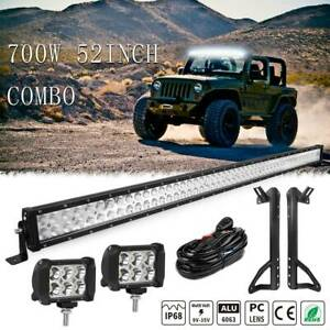 For 07 18 Jeep Wrangler Jk Driving 52inch 700w Led Light Bar Combo 2x 4 Pods
