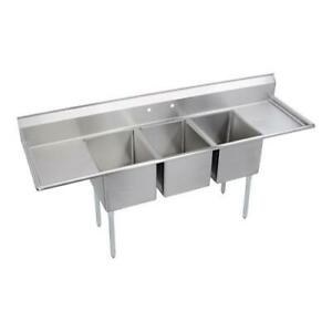 Elkay 14 3c16x20 2 24x three Compartment Sink With Left right Drainboards