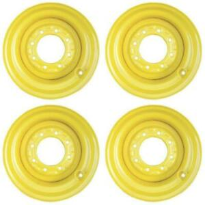 Four 4 Yellow 16 5x9 75x8 Wheel Rims For Skid Steer Loader 12 16 5 Tires
