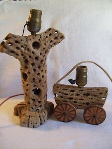 2 Vintage Mid Century Cactus Wood Cholla Cork Wagon And Cactus Lamps