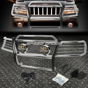 Chrome Brush Grill Guard Round Smoke Fog Light For 99 04 Jeep Grand Cherokee Wj
