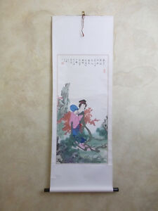 Chinese Hanging Paper Scroll China Wall Painting Woman Fan Figure Person Art