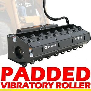 Padded Vibratory Roller Attachment For Skid Steer Loader 48 width 5750 Lbs Force