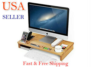 Bamboo Wood Monitor Stand Computer Riser With Storage Organizer Office