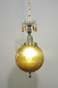 Mid Century Vintage Pendant Amber Glass Ball 1 Light Fixture Lamp