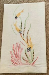 Vintage Linen Embroidered Koi Fish Hand Tea Guest Towel
