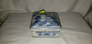 Old Chinese Blue And White Porcelain Square Box With Lid