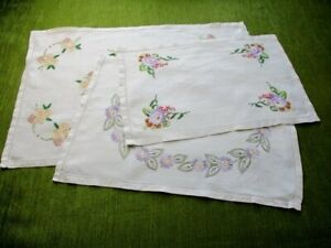 Vintage Tray Cloths Hand Embroidered Flowers Linen Col 3