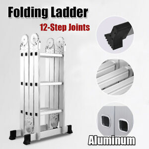 12 5ft Multi Purpose Aluminum Folding Step Ladder Scaffold Fold Step Platform