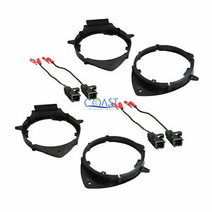 2x Front Rear Door Speaker Adapter Brackets Wire Harness For Chevy Buick Cadi