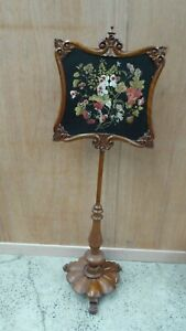 Antique Victorian Tapestry Needle Work Pole Fire Screen Carved Base
