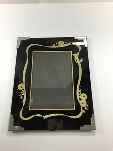Vintage Art Deco Reverse Painted Glass Picture Frame Black Gold