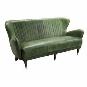 73 w Contemporary Quilted Green Leather Sofa Home office Decor