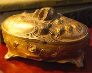 Antique Art Nouveau Jewelry Box Oval Cast Metal Footed Roses
