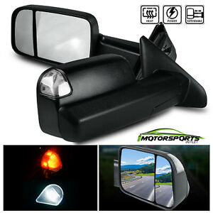 For 2002 2008 Dodge Ram Led Signal Light Power Heated Towing Mirrors Black