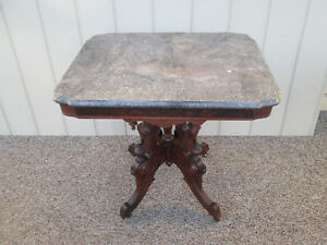 56128 Antique Victorian Walnut Marble Top Table Stand Bogart