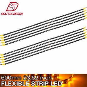 Amber Yellow 10x 60cm 30led High Power Car Motor Boat Flexible Light Strip Bar