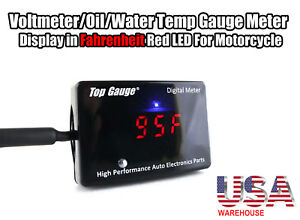 Top Gauge Motorcycle Digital Fahrenheit Voltmeter oil water Temp Gauge Meter Usa