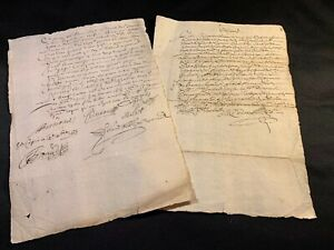 Lot Of Two Contract Manuscripts 1600s
