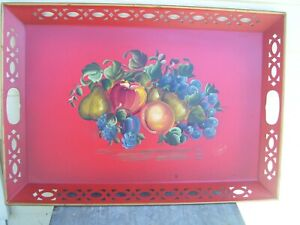 Vintage Nashco Large 20 X13 Hand Painted Signed Red Tole Tray With Fruits