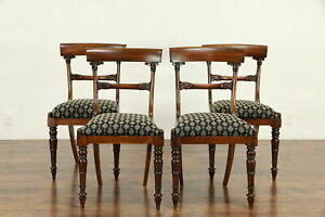 Set Of 4 Rosewood Antique English 1825 William Iv Dining Or Game Chairs 30761