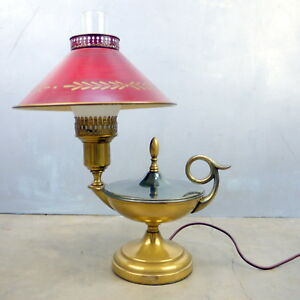 Excellent 20th Century Vtg Brass Painted Tole Shade Bouillotte Red Table Lamp