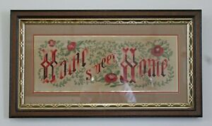 Victorian Walnut Framed Needlepoint Punch Paper Sampler Home Sweet Home