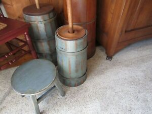 Primitive Wood Round Stool Very Sturdy Cupboard Blue