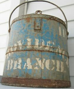 Antique Wooden Staved Rr Bucket Blue Gray Providence Branch 119 Bangor Maine