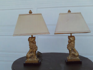 Vintage Pair Of Robert Abbey Brass Foo Lion Table Lamps