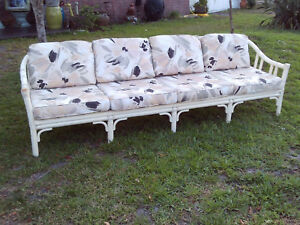 Vintage Mid Century Unique 4 Section Bamboo Mcguire Extra Long Sofa 8 Foot Long