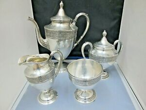 International Wedgwood Sterling Silver 4pc Teapot Serving Set Creamer Sugar