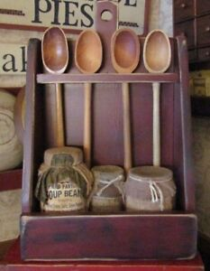 Primitive Wood Bowl Crock Rack Made By Hubby Hang Or Use Tabletop