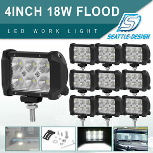 10x 18w Led 4inch Flood Work Light Bar Off Road 4wd Atv Suv Fog Driving Lamp 12v
