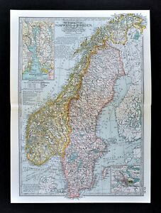 1902 Century Atlas Map Sweden Norway Oslo Stockholm Christiania Bergen