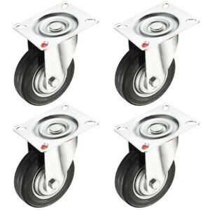 4 Pack 4 inch Swivel Caster Wheel Top Plate 154 Lbs Load Capacity Each