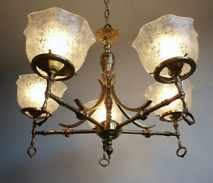 Vintage Brass Gas Style Electric Chandelier With 5 Arms Rewired Ready To Install
