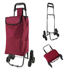 Stair Climb Rolling Folding Shopping Trolley Cart Bag For Grocery Burgundy Red
