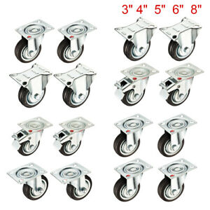 4 Pack 3 4 5 6 8 inch Top Plated Industrial Rubber Swivel Rigid Caster Wheel