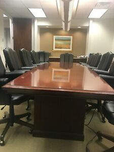 14 Feet Conference Table Set In Mahogany