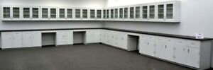 39 Ft Base 36 Ft Wall Laboratory Cabinets Furniture Bench W Tops e1 523