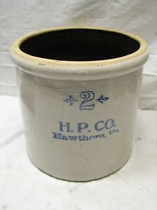 Hawthorn Pottery Co Pa Stoneware 2 Gal Crock Blue Decorated H P Hp C