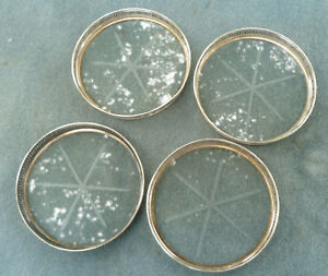Lot Of 4 Webster Sterling Silver Cut Glass Stacking Coasters