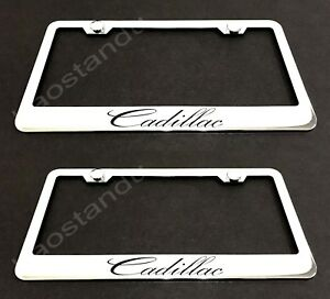 2xcadillac Stainless Chrome License Plate Frame W Screw Caps
