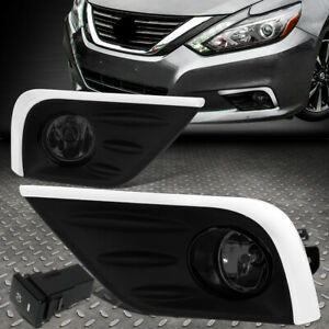 For 16 18 Nissan Altima Smoked Lens Bumper Driving Fog Light Lamp W bezel switch