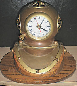Scuba Diving Helmet Vintage Ship S Brass Copper Quartz Clock Solid Oak Base