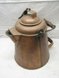 Huge Antique Primitive Solid Copper Coffee Pot Camp Fire Tool Bail 13 Camping