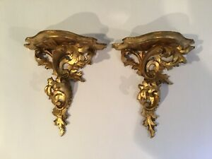 Antique Italian Gilded Rococo Florentine Wall Shelves Set Of 2 Hand Carved Wood